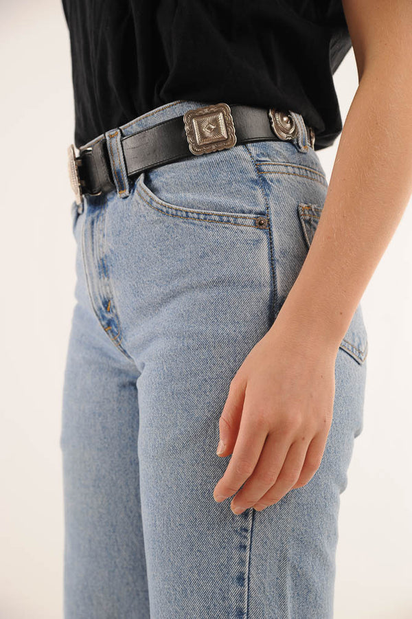 Black Concho Leather Belt