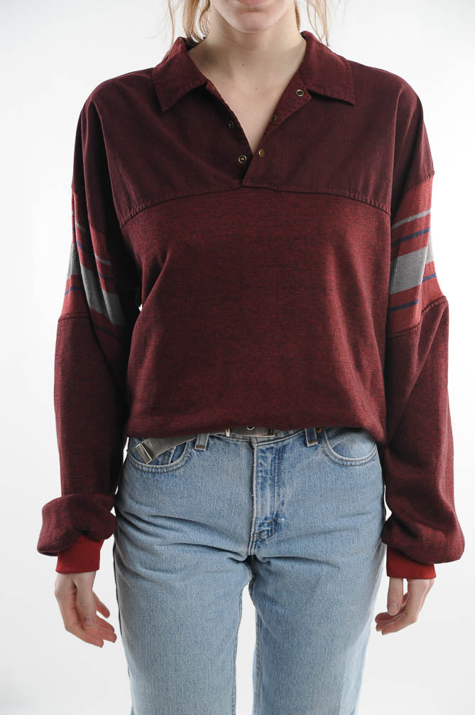 Red Colorblock Collared Sweatshirt