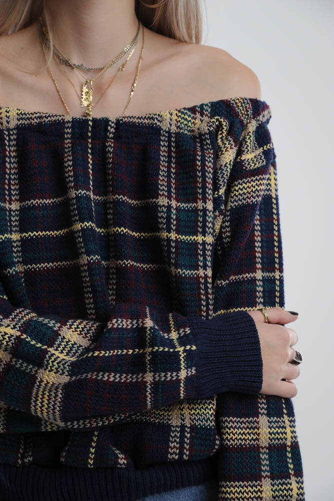 Plaid Off-The-Shoulder Sweater