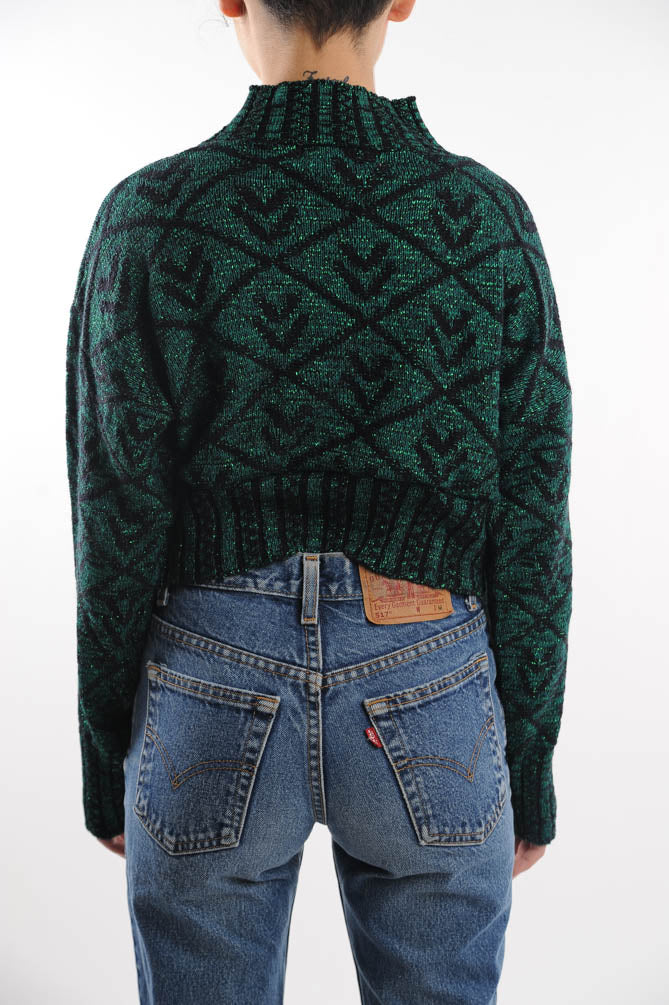 Cropped Green and Black Sweater