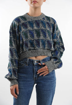 Cropped Gray Geometric Sweater