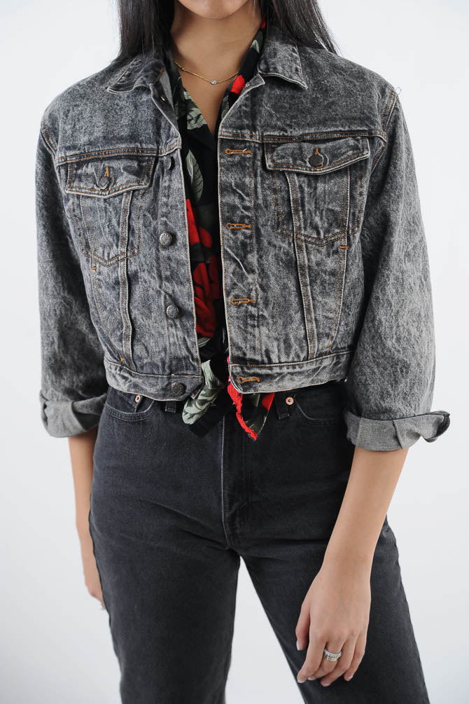 Black Acid Wash Cropped Denim Jacket