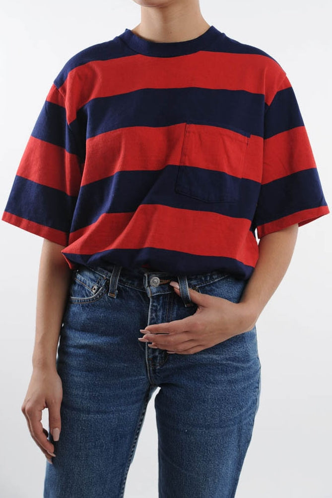 Red and Blue Striped Tee