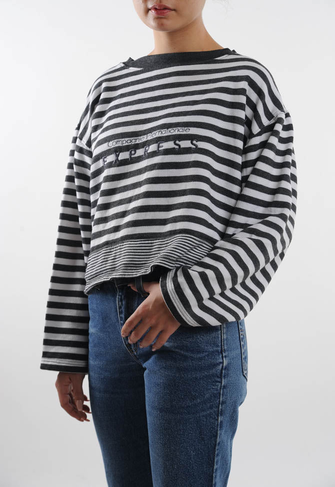 Cropped Striped Express Sweatshirt