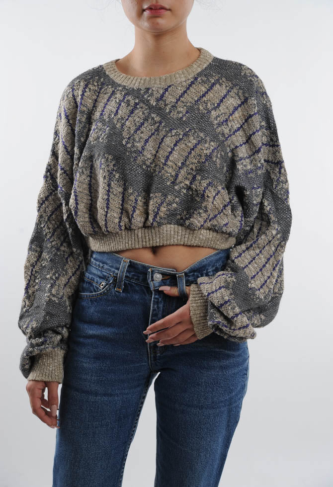 Cropped Abstract Sweater