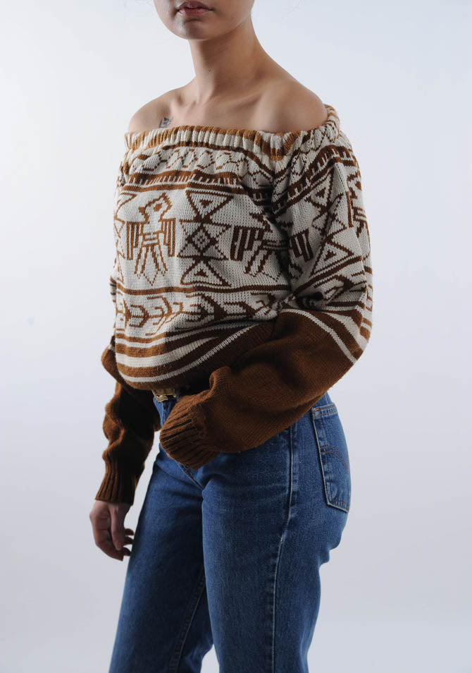 Off the Shoulder Abstract Sweater