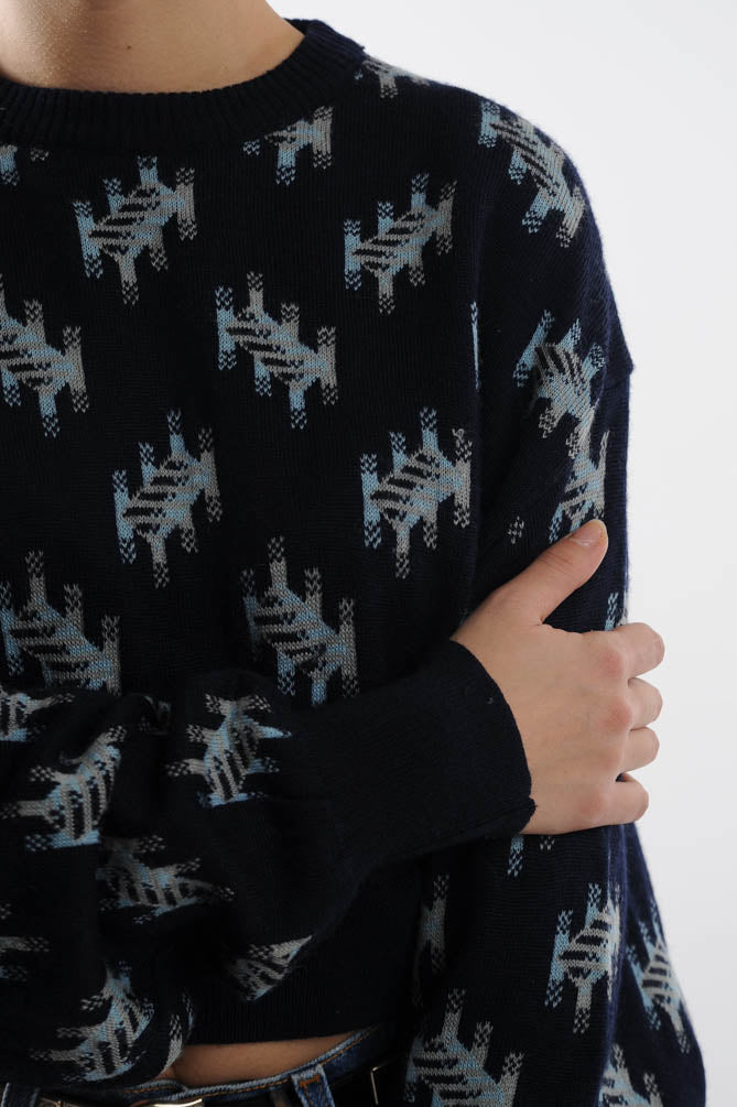 Cropped Navy Abstract Sweater