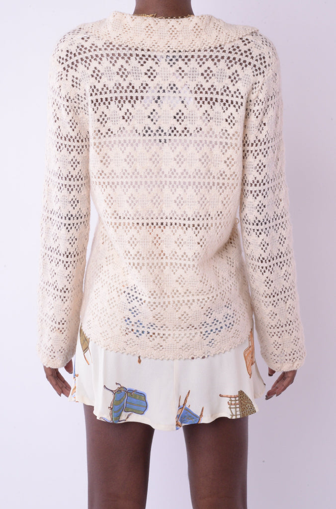 1970s Collared Ivory Crochet Sweater