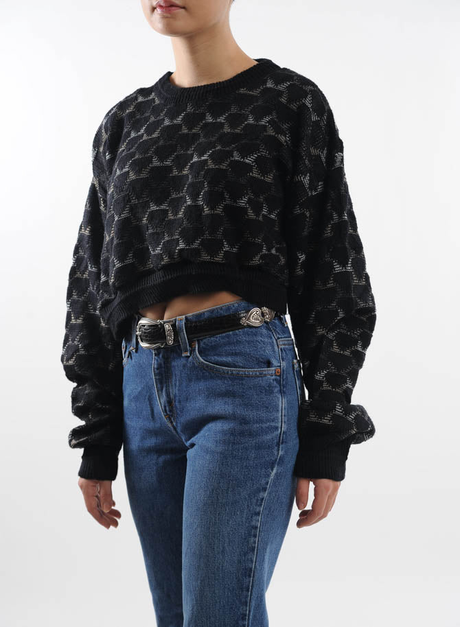 Cropped Black Geometric Sweater