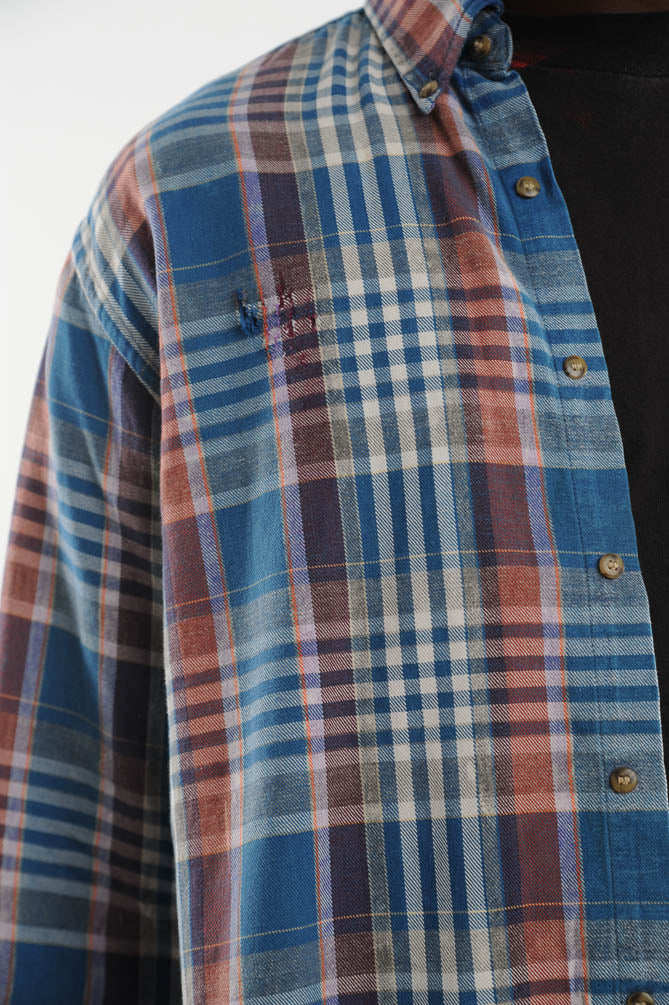 Faded Blue Plaid Distressed Flannel Shirt