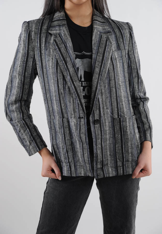 Grey & Black Striped Blazer