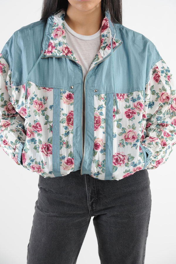 Blue Floral Windbreaker