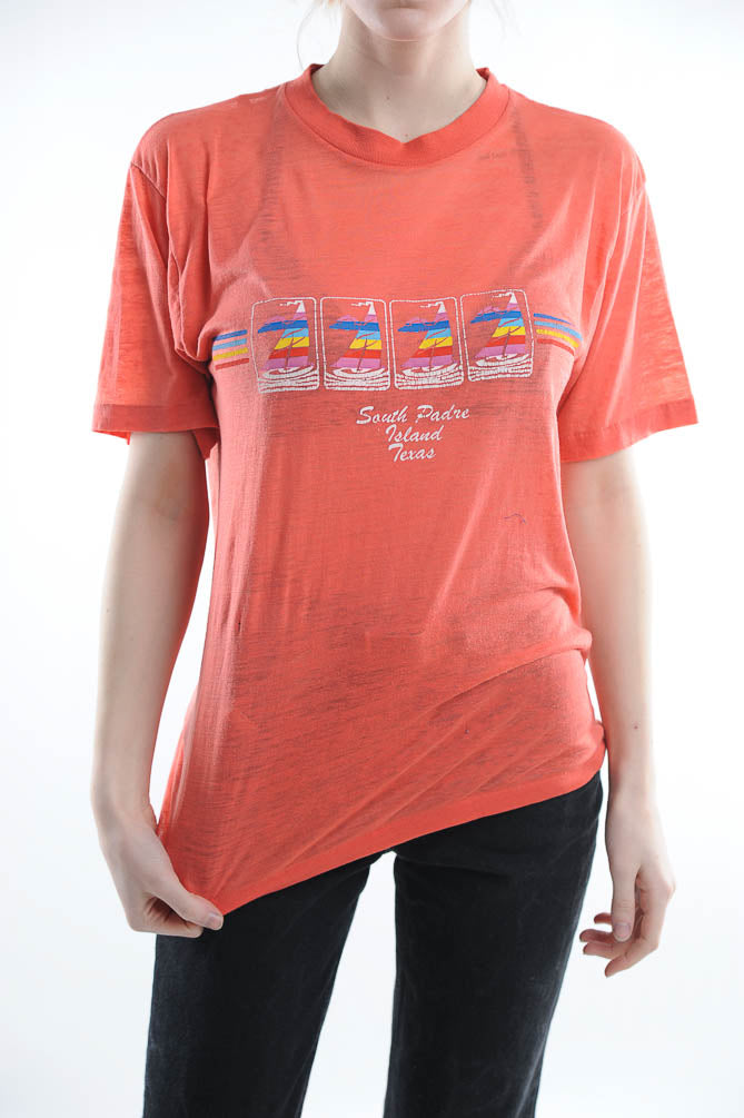 Orange South Padre Texas Tee