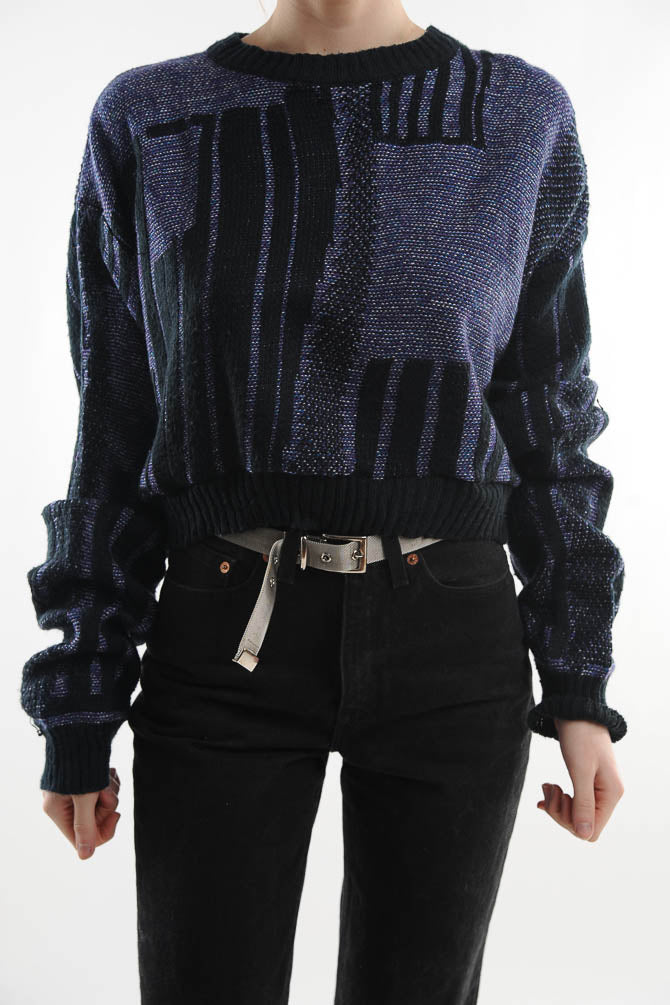 Purple Cropped Sweater