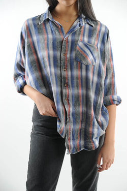 Faded Striped Distressed Flannel Shirt