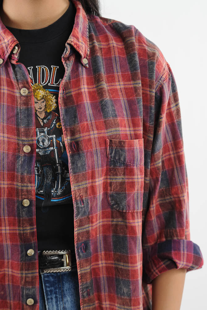 Faded Plaid Flannel Shirt