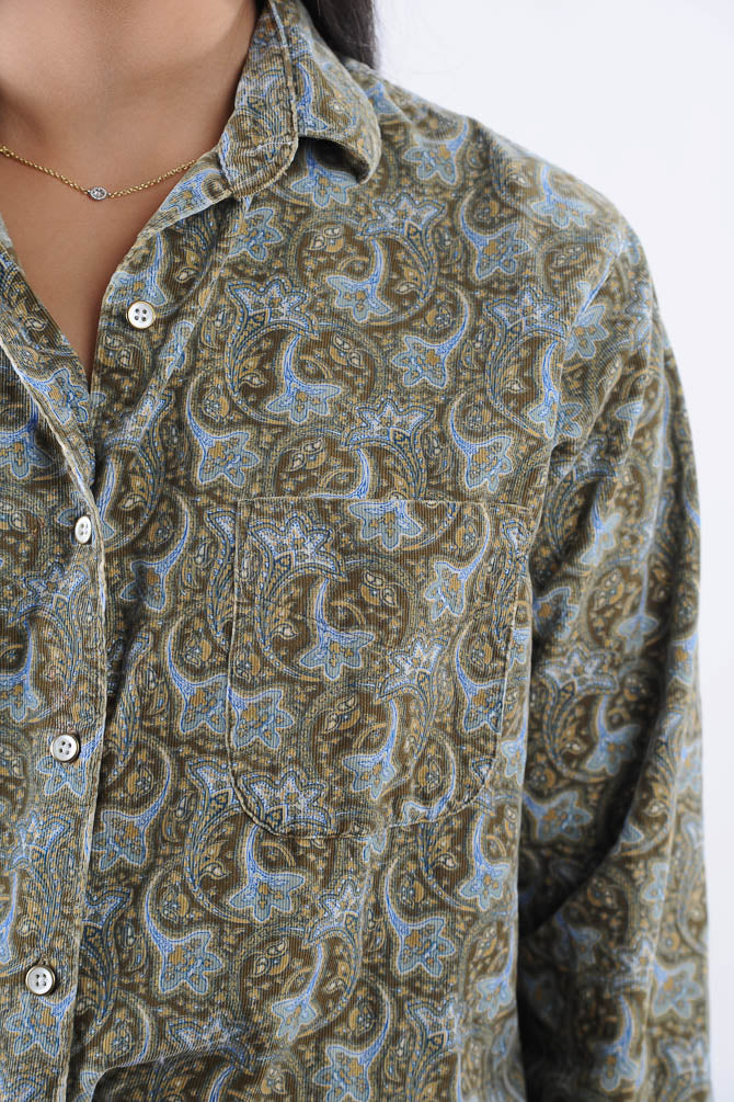 Corduroy Paisley Button Blouse