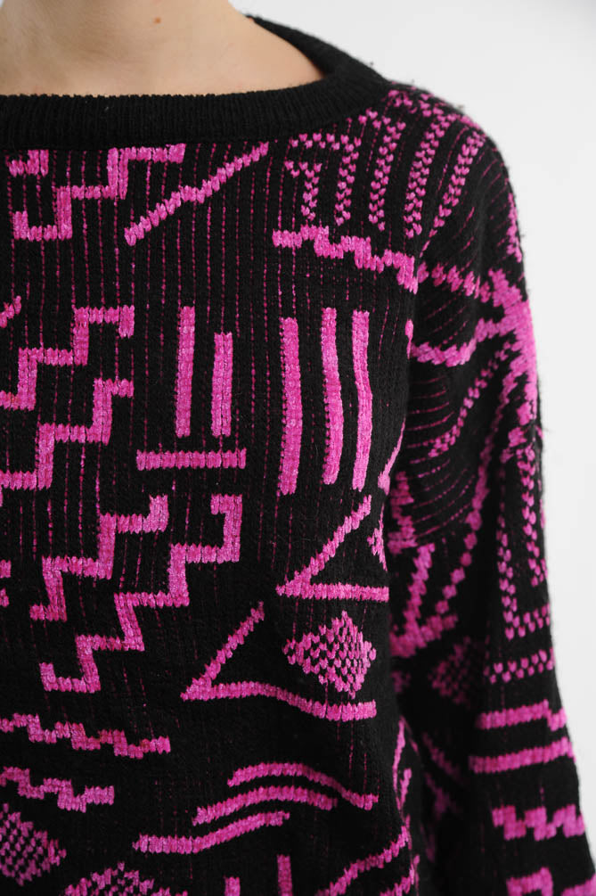 Abstract Chenille Sweater