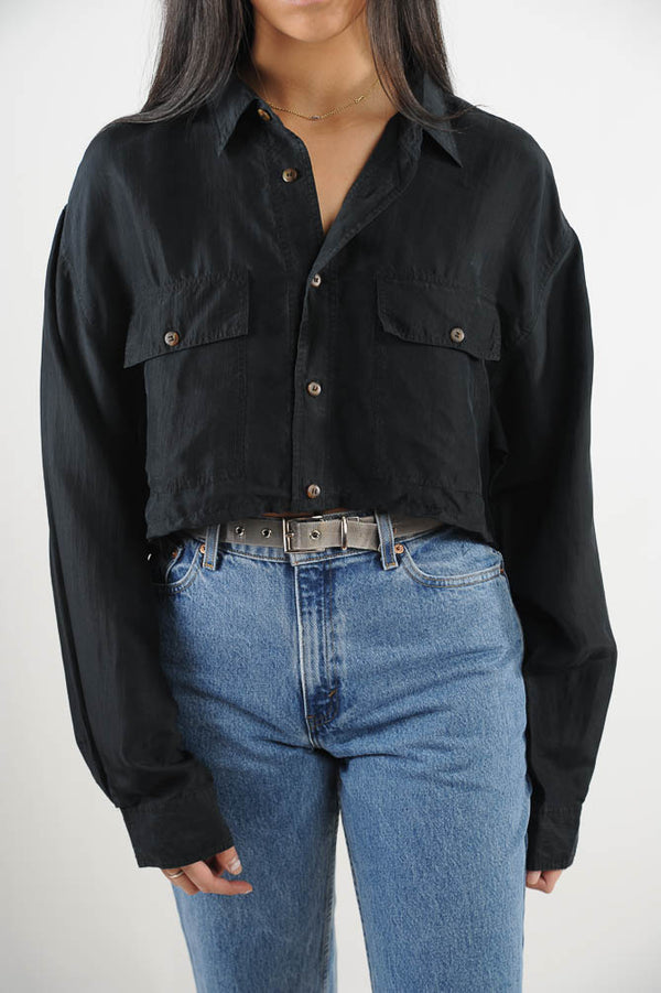 Black Silk Cropped Top