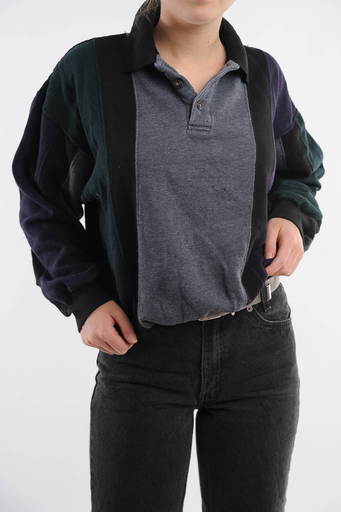 Collared Colorblock Sweatshirt