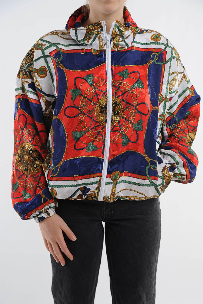 Chains and Belts Print Windbreaker