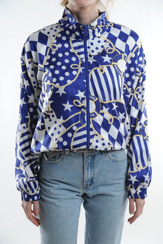 Nautical Print Windbreaker