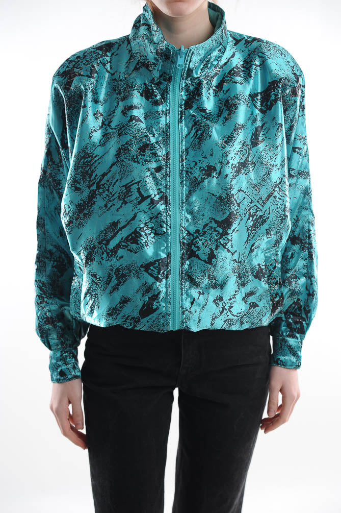 Reversible Abstract Teal Windbreaker