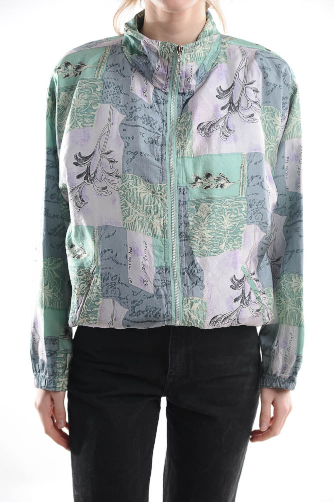 Pastel Printed Silk Windbreaker
