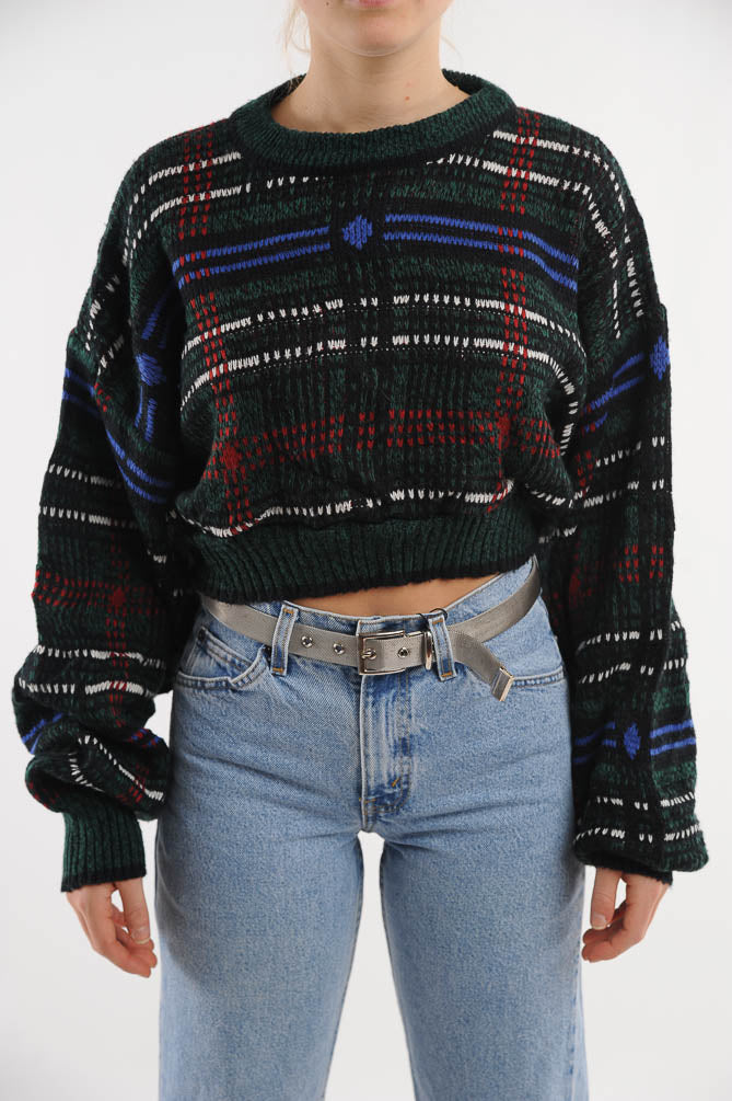 Cropped Plaid Sweater