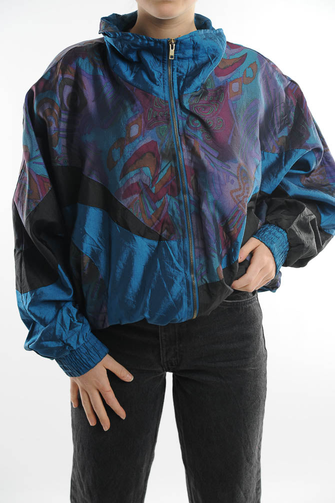 Blue Abstract Print Windbreaker