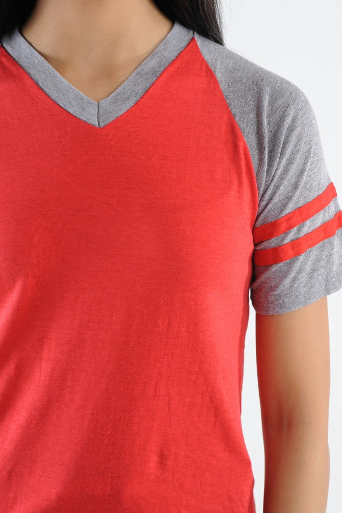 Striped Sleeve V-Neck Tee