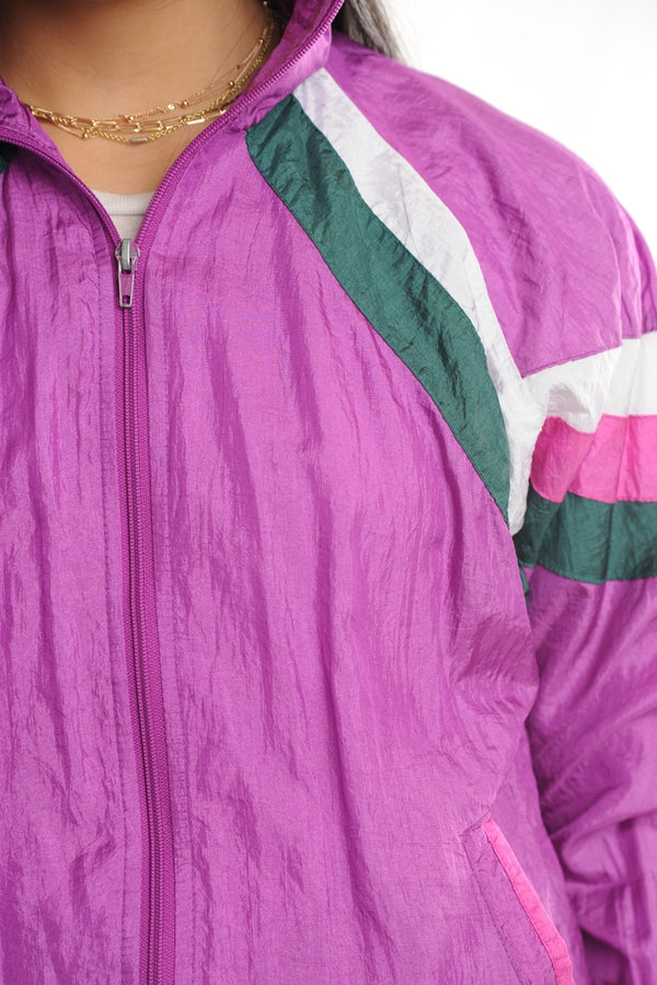 Purple Striped Windbreaker