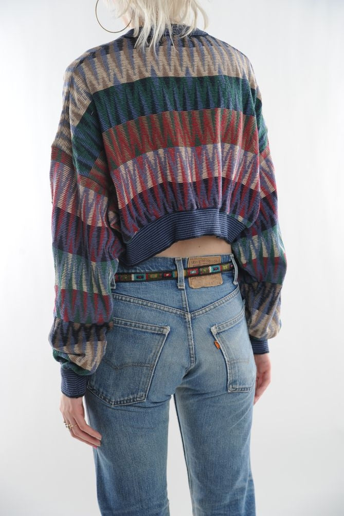 Zig-Zag Cropped Sweater