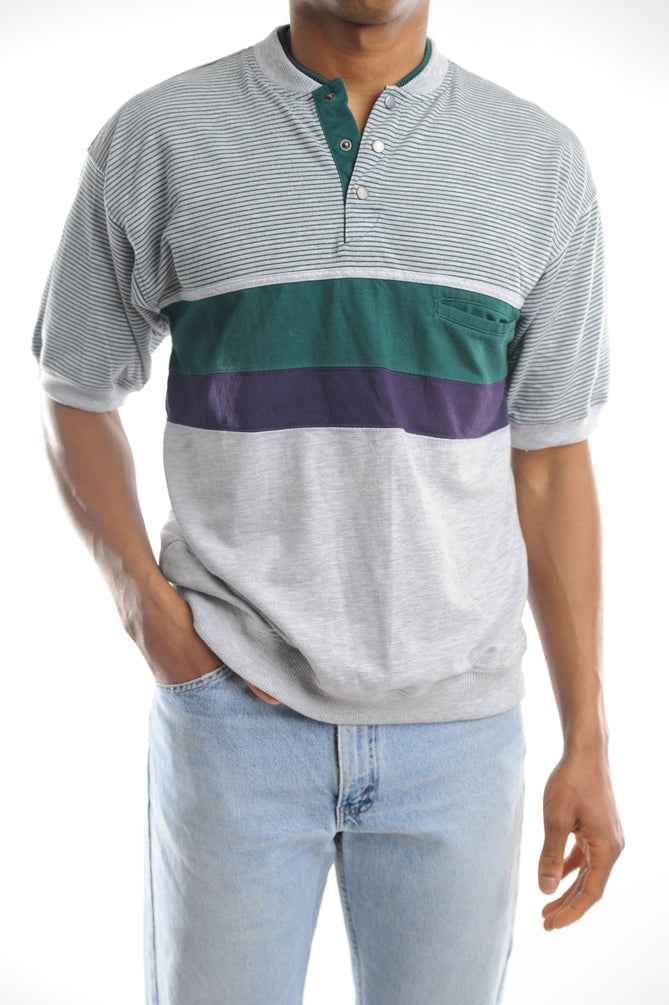 Gray Striped Colorblock Tee