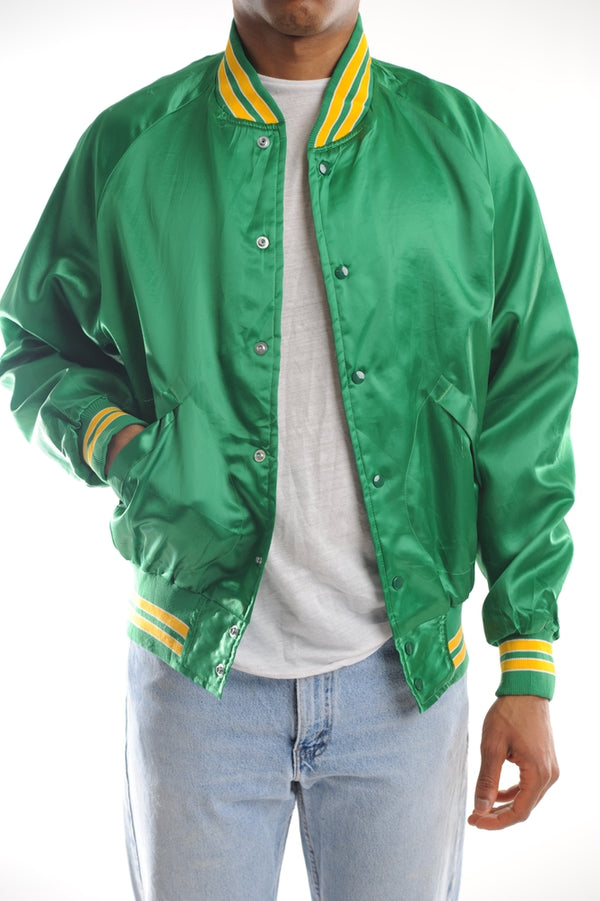 Green Satin Bomber Jacket