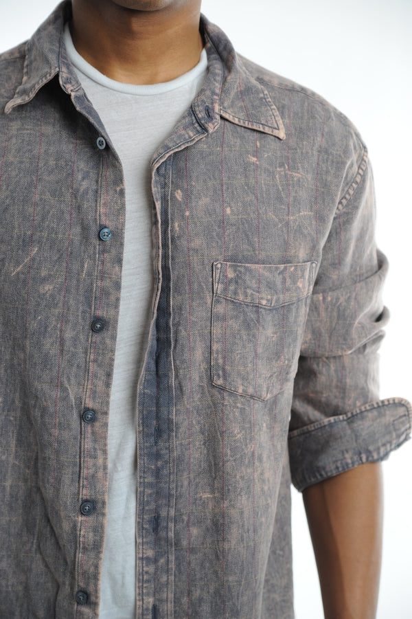Faded Striped Flannel Shirt