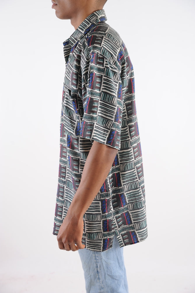 Abstract Short Sleeve Silk Button Down