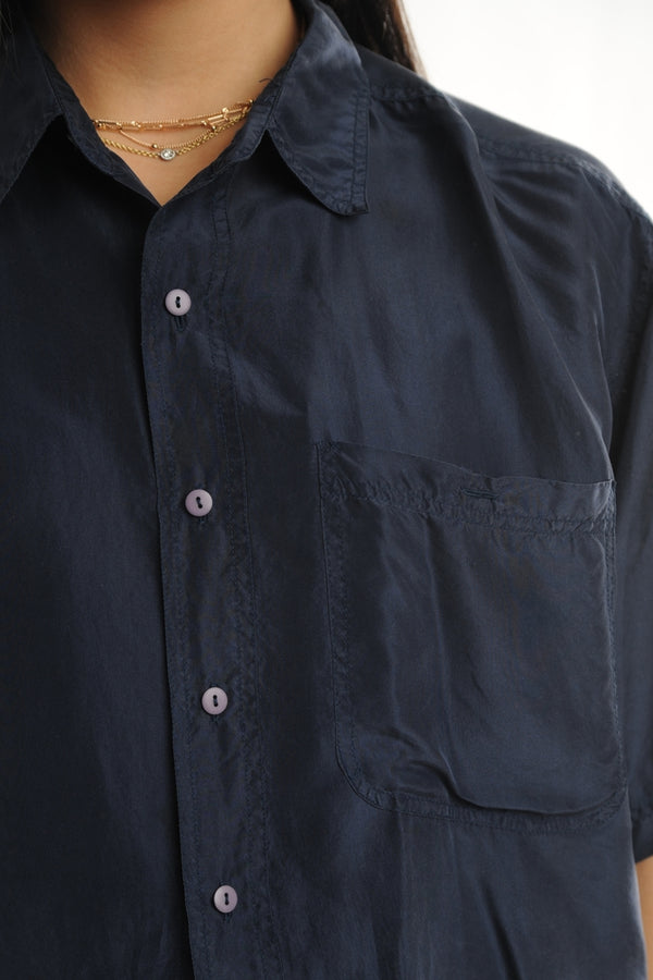 Navy Short Sleeve Silk Button Down