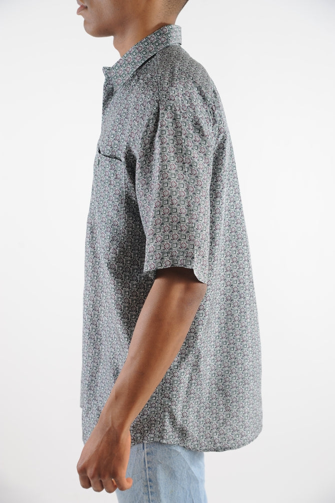 Gray Printed Silk Button Down