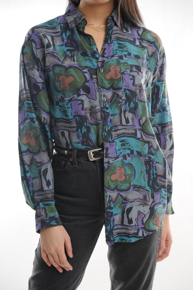Purple Abstract Silk Button Down