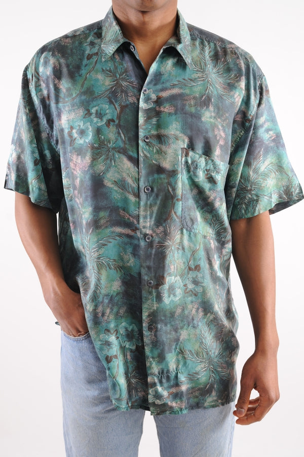 Blue Hawaiian Silk Button Down