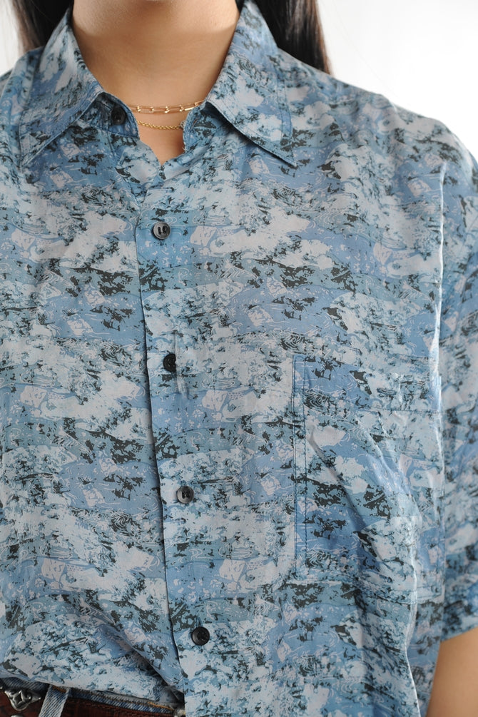 Blue Abstract Silk Button Down