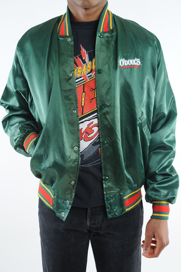 Forest Green Satin Bomber Jacket