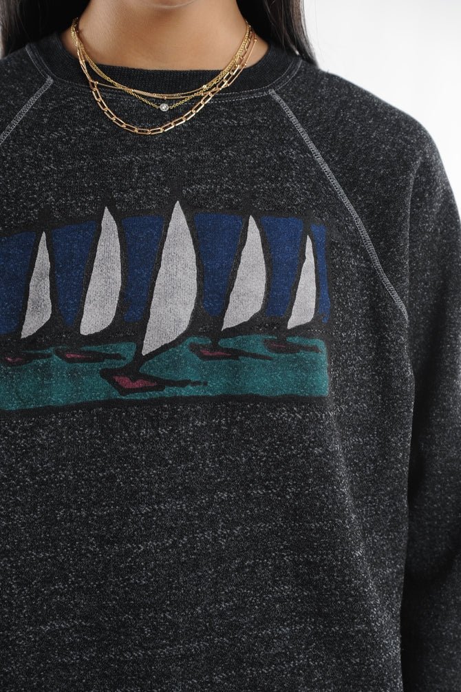 Black Sailboats Sweatshirt
