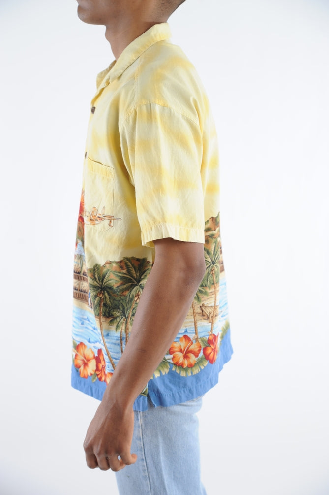 Yellow Volcano Hawaiian Shirt