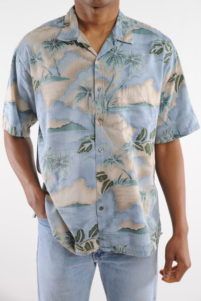 Light Blue Palm Tree Hawaiian Shirt