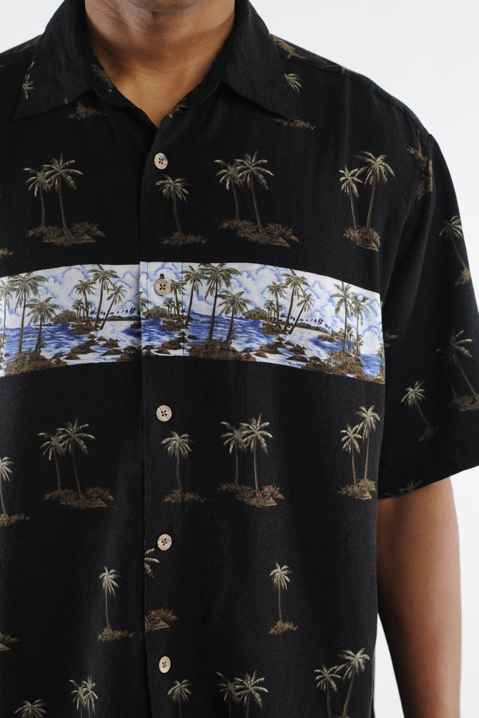 Black Palm Tree Hawaiian Shirt