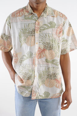 Pastel Pineapple Floral Hawaiian Shirt