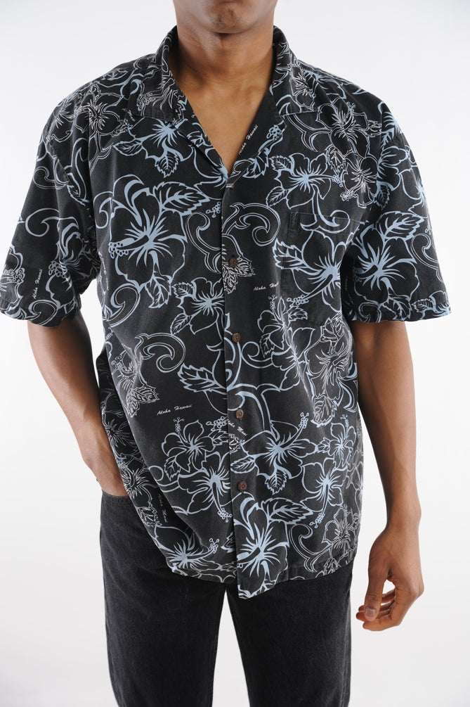 Black Floral Aloha Hawaiian Shirt