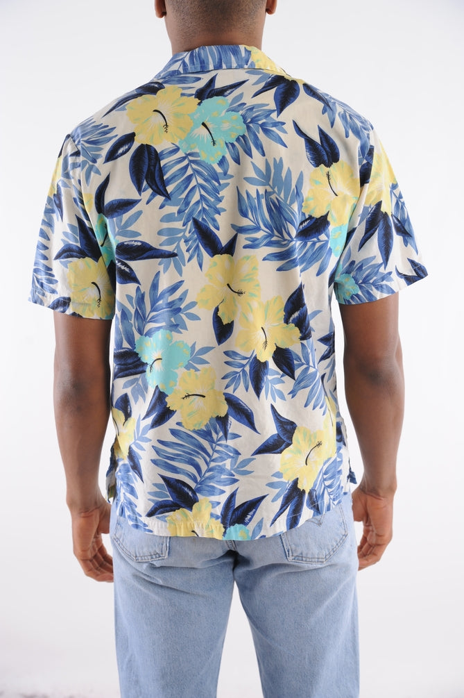 Blue Floral Hawaiian Shirt